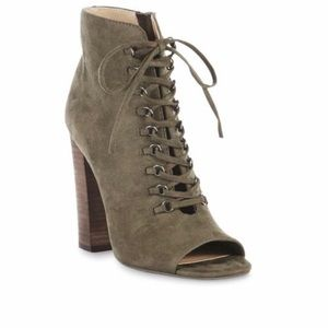 Olive Green lace up block heel booties